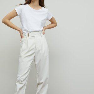 H&M Off-White Ribbed Short Sleeve Basic T-Shirt
